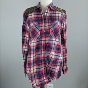 Express Plaid Button Down Flannel Blouse Pink